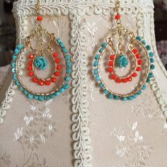 Turquoise and orange earrings by tchickie on Etsy