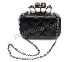 PU Leder Handgelenk Tasche, mit Messing, Rechteck, plattiert, mit hängenden Kette Gurt befestigt, schwarz, 160x110x60mm, 3Stücke/Gruppe, verkauft von Gruppe - perlinshop.com