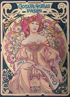 Original Poster Design by: Alphonse Mucha - Chocolate Amatller - Serigraph on Paper available at Crescent Hill Gallery
