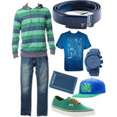 """""""Naval Blue Belt - Bright blue and green"""" by kristinmadsen on Polyvore"""