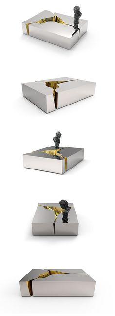brass and mirror center table @BOCADOLOBO