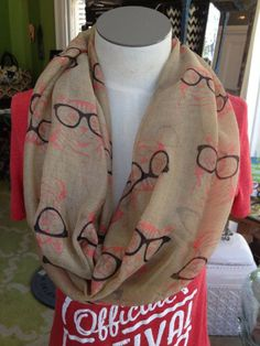 Fleurty Girl - Everything New Orleans - Hipster Cat Summer Infinity Scarf, $14.95. Cute and trendy light hemp-colored summer infinity scarf with pink cats wearing large black hipster glasses.