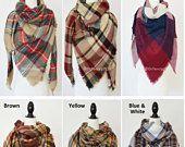 Fall scarf, winter scarf , Blanket Scarf, Boho Scarf, aztec scarf, christmas gift ideas, plaid blanket scarf, zara plaid scarf, gift for her