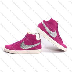 Swarovski or Diamante Adult Nike Blazers Hi Vintage Suede in Hot Pink www.craftyjewels.co.uk