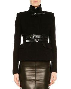 TOM FORD STAND-COLLAR BELTED JACKET, BLACK. #tomford #cloth #