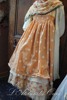 MLLE GINGER : Robe � bretelles Pois et Fleur