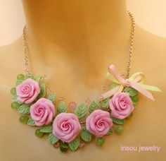 Pink  Roses  Floral necklace  Spring jewelry  by insoujewelry