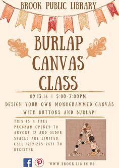 Burlap Monogram Class 9/13/16. Register at 275-2471