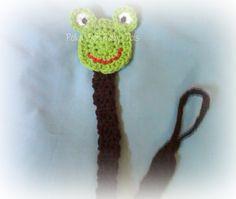 Crochet Frog paci clip