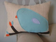 Items similar to Tiffany Blue Bird Mini Pillow on Etsy Felt Pillow, Bird Pillow, Cute Pillows, Throw Pillows, Orange Couch, Tiffany Blue Color, House Of Turquoise, Bird Theme, Felt Decorations