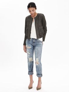 Our 100% leather bomber jacket will add edge to your street style look. Pair over a white blouse with distressed boyfriend jeans and classic pumps | Banana Republic