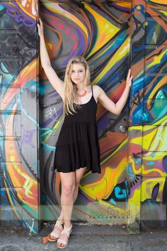 Senior picture in graffiti alley, San Francisco, CA