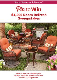 Show us how you'd refresh a room in your home and enter at http://www.facebook.com/BHGLiveBetter/app_337668533010417 for a chance to win a 1,000.00 gift card from BHG @Walmart!