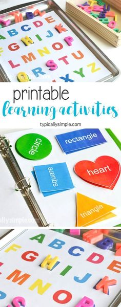Learning Activities Binder & Free Printable - Typically Simple Create a preschool learning activities binder with a free printable for letters and shapes. (ad)<br> Create a preschool learning activities binder with a free printable for letters and shapes. Preschool Learning Activities, Preschool At Home, Infant Activities, Toddler Preschool, Free Printables For Preschool, Letter Activities, Preschool Binder, 3 Year Old Preschool, Preschool Ideas