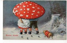 toadstool with hearts and tiny lovers and puppy