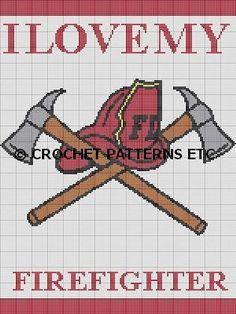 I LOVE MY FIREFIGHTER CROCHET PATTERN AFGHAN GRAPH #279 | crochetpatternsetc - Patterns on ArtFire