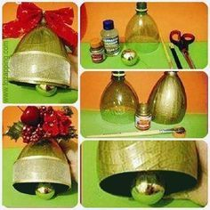 16 Awesome Ideas for DIY Christmas Decorations Art and Craft Recycled Christmas Decorations, Disney Christmas Decorations, Christmas Crafts, Christmas Bells, Kids Christmas, Christmas Ornaments, Plastic Bottle Crafts, Jingle All The Way, Diy For Kids
