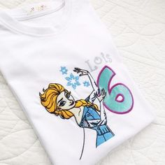 Personalised Frozen inspired Elsa embroidered  children's T shirt