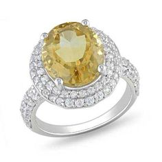 Zales Oval Citrine and Lab-Created White Sapphire Ring in Sterling Silver mUWK8y