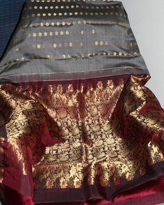 Grey And Maroon Dharmavaram Silk Saree Silk Sarees