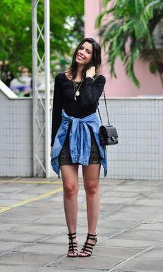 Look: Camila Coutinho - Vestido + Camisa Jeans