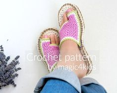Crochet pattern- flip-flops with rope soles,soles pattern included,slip ons,slippers,sandals,scuffs,loafers,women,adult,girl,cord,twine