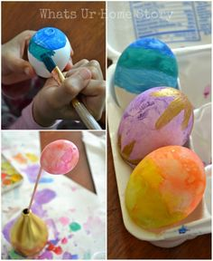 Watercolor Easter Eggs | Instructions show you how to make beautiful painted watercolor easter eggs | diyready.com
