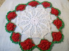 Looks just like the ones my mom had that my grandma & great grandma crocheted. Vintage Crocheted Doily, Shabby Chic, Red Flower Doily