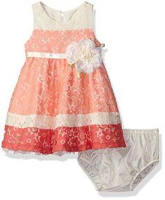 Rare Editions Girls Dress sz 12 months Pink Brown Diaper Cover 2 Piece New