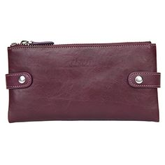 Banuce Italain Soft Leather Zipper Wallet Card Holder Purse Checkbook Color Purple -- Details can be found at