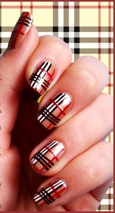Burberry inspired nail art..