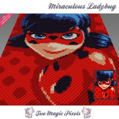 Miraculous Ladybug crochet blanket pattern; knitting, cross stitch graph; pdf download; cat; no written counts or row-by-row instructions