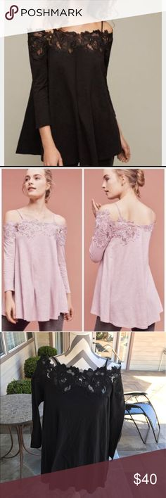 Anthropologie Cold shoulder top Beautiful lace detail off the shoulder top from anthropologie Anthropologie Tops Blouses