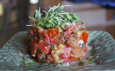 Tomato Tartare and Micro Greens with Shallot Vinaigrette