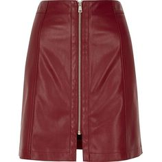 River Island Dark red leather look zip mini skirt ($41) ❤ liked on Polyvore featuring skirts, mini skirts, short skirts, short mini skirts, a line skirt, tall skirts and red mini skirt