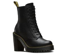 This is the Kendra, a feminine, tough 10-eye boot. Extra height and street cred come in the form of a chunky commando tread sole and an empowering high heel—all underneath unmistakable Doc's DNA like grooved sides, yellow stitching and a scripted heel loop. Made with Aunt Sally, a soft, naturally tumbled leather, the Kendra women's boot is built on our iconic air-cushioned sole, that's resistant to oil and fat, and has good abrasion and slip resistance.