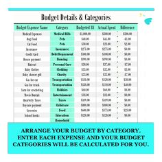 Budget Calculator Budgeting Monthly Budget Bill Organizer