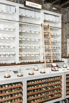 Guide: What We Did and What We Ate Charleston Guide: This candle shop is adorable!Charleston Guide: This candle shop is adorable! Retail Store Design, Retail Shop, Store Interior Design, Commercial Design, Commercial Interiors, Store Concept, Apothecary Decor, Apothecary Cabinet, Candle Store