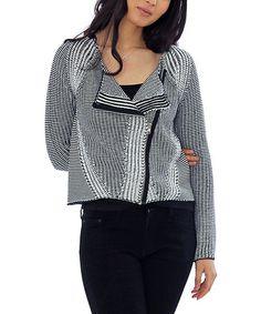 Look at this #zulilyfind! Black & White Zip-Up Sweater by funsport, $40 !! #zulilyfinds