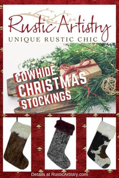 Christmas stockings made to last a lifetime. Big and sturdy enough that you can actually fill them with little gifts. Each one is handcrafted from extra thick leather with a cowhide insert design and decorative curlicue stitching. Rustic Chic, Rustic Style, Rustic Christmas, Christmas Christmas, Christmas Crafts, Rustic Home Interiors, Rustic Homes, Western Decor, Vintage Design