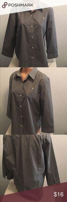 """LAUREN Ralph Lauren XL Black White Non-Iron Blouse Lauren Ralph Lauren. Excellent condition no stains or holes. XL. Shirt. 3/4 sleeves. Logo on chest. Non-Iron. Button front. Chest: 45"""" armpit to armpit then doubled. Length: 28 3/4"""". Sleeve length: 20"""". 100% cotton. Lauren Ralph Lauren Tops Button Down Shirts"""