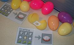 """In the game of Minecraft, you have to collect eggs, milk, sugar and wheat to """"craft"""" a cake. We made them find all those ingredients hidden in Easter eggs in the yard before they could have cake. Minecraft Party Games, Minecraft Birthday Party, Minecraft Crafts, 8th Birthday, Birthday Parties, Minecraft Cake, Minecraft Ideas, Birthday Ideas, Minecraft Scavenger Hunt"""