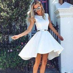 Elegant High Low Round Neck Short Cheap White Homecoming Dresses, · HotProm · Online Store Powered by Storenvy Homecoming Dresses High Low, Hoco Dresses, Sexy Dresses, Cute Dresses, White Dresses For Teens, Short Prom, Cheap Dresses, Prom Dress, Evening Dresses