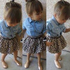 Girls Denim Top and Leopard Print Skirt Set
