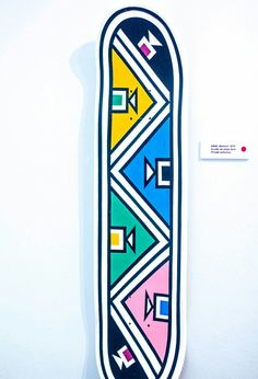 Still using traditional materials, such as twigs, feathers and natural paints, Esther 'Gogo' Mahlangu has exhibited all around the world and painted almost everything from houses, cars, shoes and even skateboard decks in traditional Ndebele geometric prints. One of the first artists to transfer traditional Ndebele designs to canvas and other mediums, Gogo is considered an art pioneer.