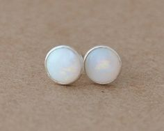 Opal Earrings with Sterling Silver studs. 5mm gemstone cabochon