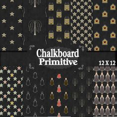 Prim Chalkboard 12 x 12 Papers , Chalk look papers, Primitive Papers, Digital Download, Spend 20 dollers use code TAKE50OFF Get half Price by DigitalPaperCraft on Etsy