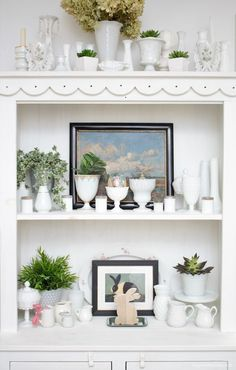 Thrifty Easter and spring cottage and farmhouse decor, white hutch decor idea. Dagmar's Home, DagmarBleasdale.com #DIY #easter #spring #collections #milkglass #homedecor #vintage #white #decor