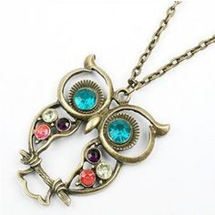 Want This Beautiful Rhinestone Crystal Cubic Zirconia Owl Necklace? Get Free, Shipping! Limited Quantity Available.