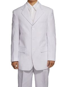 New Men's 3 Button Single Breasted White Dress Suit